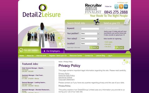 Screenshot of Privacy Page detail2leisure.com - Job Vacancies in Hospitality from Detail2Leisure Recruitment Agency - Detail2Leisure , - captured Sept. 30, 2014