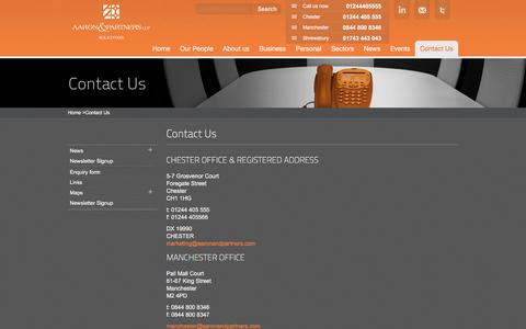 Screenshot of Contact Page aaronandpartners.com - Contact Aaron & Partners LLP Solicitors | Aaron & Partners LLP - captured Feb. 5, 2016