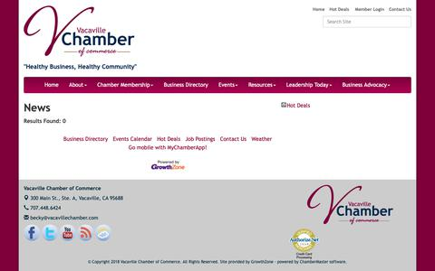 Screenshot of Press Page vacavillechamber.com - News - Vacaville Chamber of Commerce, CA - captured Oct. 18, 2018