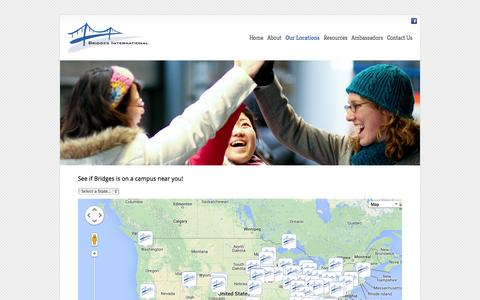 Screenshot of Locations Page bridgesinternational.com - Bridges International – Campus Locator - captured Sept. 30, 2014