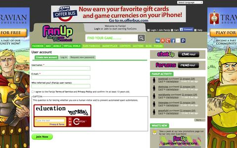Screenshot of Signup Page fanup.com - User account - FanUp Community - captured Sept. 19, 2014