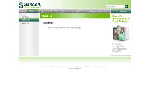 Screenshot of Testimonials Page sancell.com.au - Sancell Testimonials - captured Oct. 3, 2014