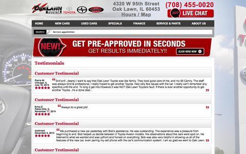 Screenshot of Testimonials Page oaklawntoyota.com - Oak Lawn Illinois Toyota Dealership | Oak Lawn Toyota - captured Oct. 27, 2014