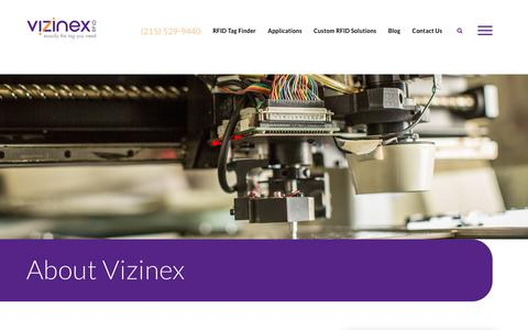 Screenshot of About Page vizinexrfid.com - A Unique RFID Company | Vizinex RFID | Get the Exact Tag You Need - captured Feb. 14, 2019
