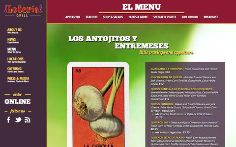 Screenshot of Menu Page loteriagrill.com - Our Menu | What We Serve - Loteria Grill - captured Nov. 4, 2014