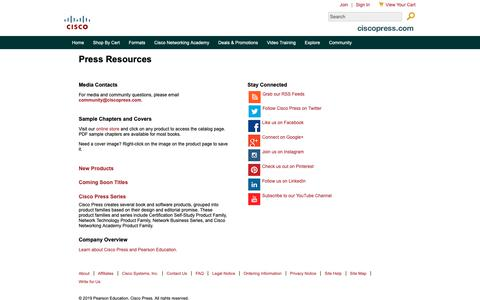 Screenshot of Press Page ciscopress.com - Press Resources - captured Feb. 27, 2019