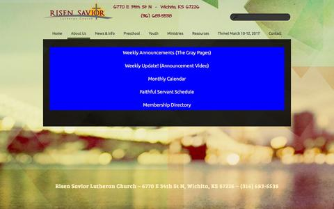 Screenshot of About Page risensaviorwichita.net - About Us «  Risen Savior Lutheran Church - captured Dec. 22, 2016
