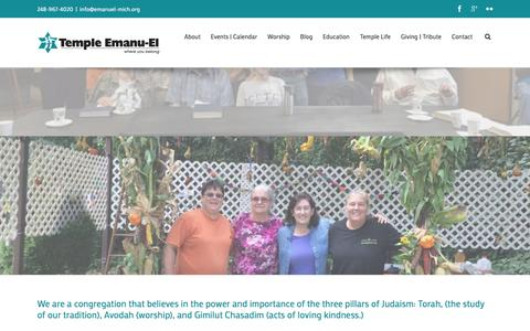 Screenshot of Home Page emanuel-mich.org - Where You Belong | Temple Emanu-El - captured Feb. 16, 2016