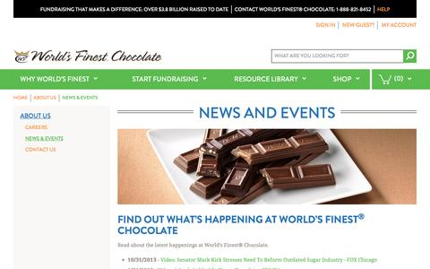 Screenshot of Press Page worldsfinestchocolate.com - World's Finest Chocolate Fundraising    News & Events - captured Nov. 21, 2016