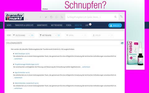 Screenshot of Jobs Page transfermarkt.de captured Dec. 2, 2015