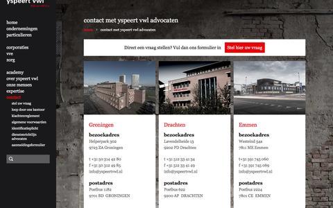 Screenshot of Contact Page yspeertvwl.nl - contact informatie - yspeert vwl advocaten - captured Feb. 17, 2016