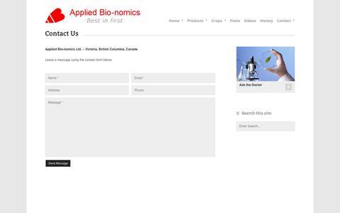 Screenshot of Contact Page appliedbio-nomics.com - Contact - Applied Bio-nomics Ltd. - captured April 11, 2017