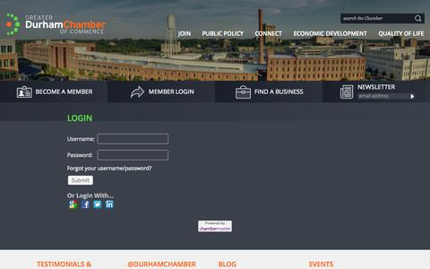 Screenshot of Login Page durhamchamber.org - Login - Greater Durham Chamber of Commerce - captured Oct. 3, 2014