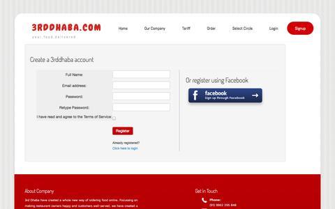 Screenshot of Signup Page 3rddhaba.com - 3rddhaba.com - Your Food Delivered - captured Oct. 7, 2014