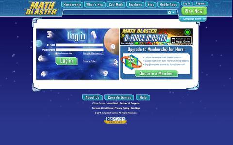 Screenshot of Login Page mathblaster.com - Logon to Fun Math Games in Math Blaster - Online Math Game for Kids - Math Blaster - captured Feb. 1, 2016