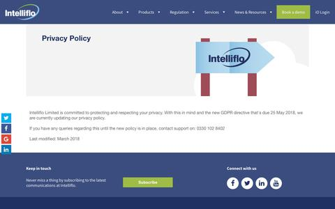 Intelliflo Privacy Policy - how we use personal info