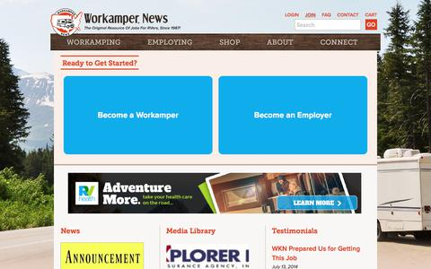 Screenshot of Signup Page workamper.com - Ready to Get Started? | Workamper News - captured Sept. 23, 2018