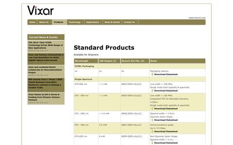 Screenshot of Products Page vixarinc.com - Products   Vixar Inc. - captured Sept. 17, 2014