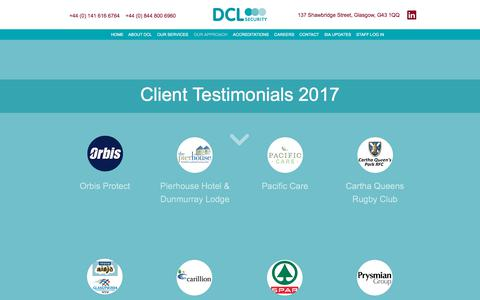 Screenshot of Testimonials Page dclsecurity.co.uk - TESTIMONIALS - captured Oct. 11, 2017