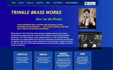 Screenshot of Home Page trinklebrassworks.org - Trinkle Brass Works - Music Performances, Educational Services, Steven Trinkle Educational Services - captured Oct. 8, 2014