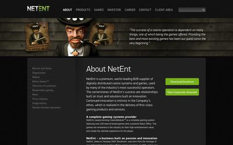 Screenshot of About Page netent.com - About | Net Entertainment - captured Oct. 26, 2014