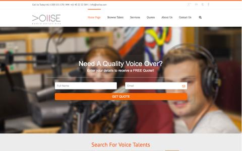 Screenshot of Services Page voiise.com - Fastest Growing Voice Over & Audio Production Company - captured Sept. 25, 2014