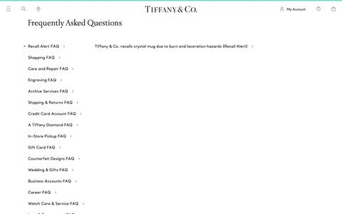 Screenshot of FAQ Page tiffany.com - Frequently Asked Questions | Tiffany & Co. - captured March 21, 2019