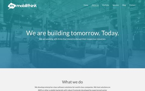 Screenshot of About Page mobilithink.com - About Us - Mobilithink - captured Sept. 21, 2018
