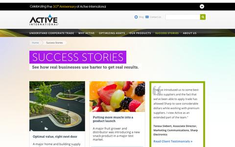 Screenshot of Case Studies Page activeinternational.com - Success Stories: Corporate Trade & Excess Inventory Case Studies   Active International   Active International - captured Sept. 12, 2014
