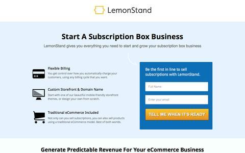 Screenshot of Landing Page lemonstand.com - Build a subscription eCommerce business with LemonStand - captured Oct. 29, 2016