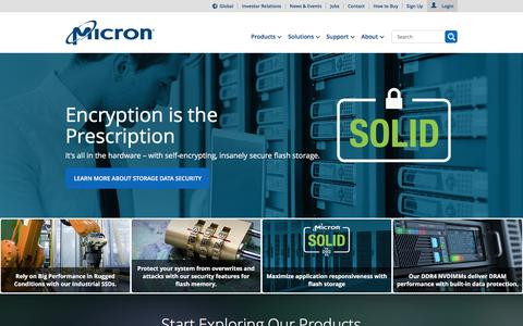 Screenshot of Home Page micron.com - Micron Technology, Inc. - Home | Memory and Storage Solutions - captured Jan. 5, 2016