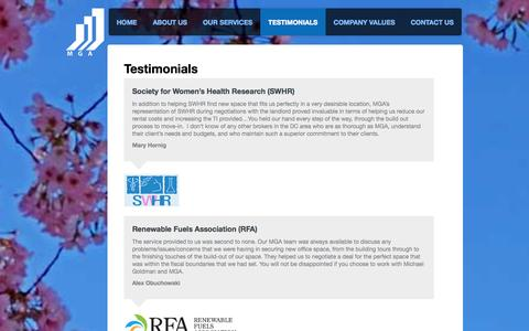 Screenshot of Testimonials Page mgaco.com - MGA - captured Nov. 2, 2014