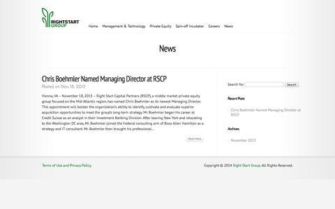 Screenshot of Press Page rightstartinc.com - News | Right Start Group - captured Oct. 26, 2014
