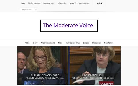 Screenshot of Home Page themoderatevoice.com - The Moderate Voice – An Internet hub with domestic and international news, analysis, original reporting, and popular features from the left, center, indies, centrists, moderates, and right - captured Sept. 28, 2018