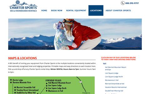 Screenshot of Locations Page chartersports.com - Maps & Locations of Charter Sports in Colorado - captured July 17, 2018
