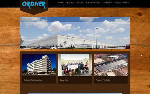 Screenshot of Home Page ordner.com - Ordner Construction Company - We Are The Benchmark - captured Feb. 14, 2016