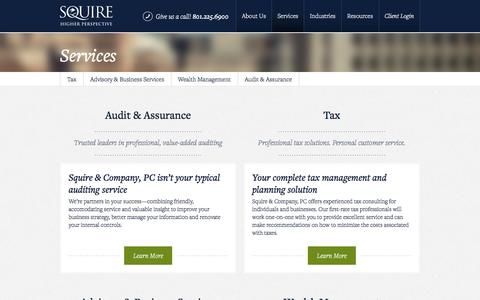 Screenshot of Services Page squire.com - Services | Squire - captured Dec. 1, 2016