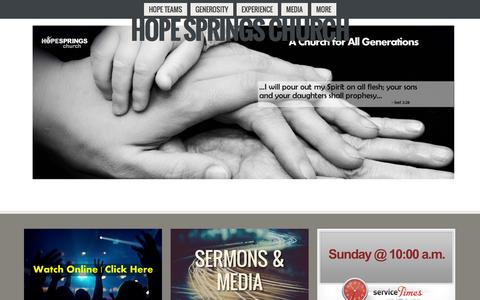 Screenshot of Home Page myhopesprings.com - Hope Springs ChurchHome - captured Oct. 3, 2014