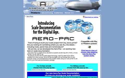Screenshot of Products Page airbornemedia.com - Airborne Media: Products: AeroPac Scale Documentation - captured Dec. 24, 2015