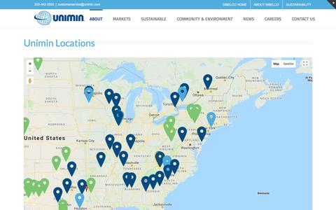 Screenshot of Locations Page unimin.com - Locations - Unimin - captured March 7, 2018