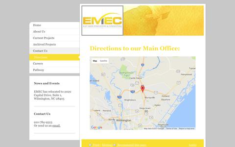 Screenshot of Maps & Directions Page emeconline.com - East Main Evaluation & Consulting, LLC - Directions - captured July 13, 2017