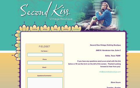 Screenshot of Contact Page 2ndkiss.com - contact   Second Kiss – Vintage Boutique - captured Oct. 4, 2014
