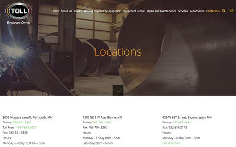 Screenshot of Locations Page tollgas.com - Toll Gas Locations | Gas Services and Welding Supply | Toll Gas - captured Feb. 22, 2016