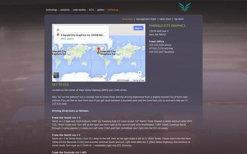 Screenshot of Contact Page emeraldcg.com - Emerald City Graphics :: Contact Us - captured Oct. 2, 2014