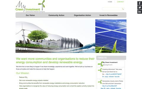 Screenshot of Home Page mygreeninvestment.com - Home - My Green Investment - captured Sept. 26, 2014