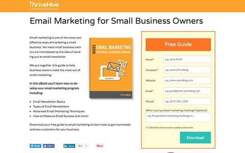 Screenshot of Landing Page thrivehive.com - Email Marketing for Small Business Owners   ThriveHive - captured Aug. 19, 2016