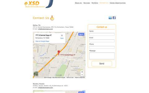 Screenshot of Contact Page xsdcompany.com - X Software Development - Contact Us - captured Sept. 30, 2014