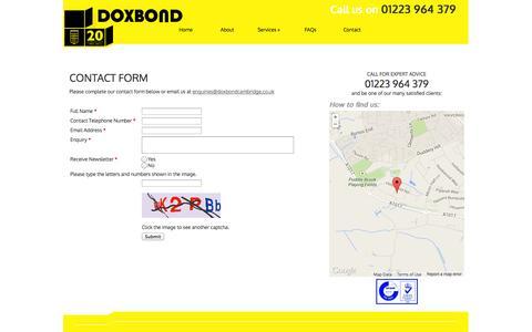 Screenshot of Contact Page doxbondcambridge.co.uk - Doxbond Cambridge :: Contact - captured Oct. 5, 2014
