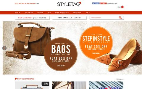 Screenshot of Home Page styletag.com - Online Shopping Discount For Designer Brands Clothing | Buy Designer Dresses At - Styletag - captured Jan. 22, 2015