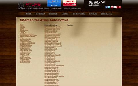 Screenshot of Site Map Page atlasautomotive.com - Atlas Automotive | Pre-owned Dealer | Mesa, Arizona - captured Sept. 30, 2014